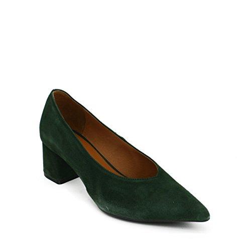 En Verde Salón Ante Señora Ancho Punta Rojo Zapato Elegante Piel Medio Fina Burdeos Marrón Camel tacón Colores interior rFWr8cp4