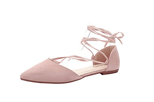 Ankle Lady s Fashion Strap New Fashion Woman Pointy Flats Laura Mila Pink Toe IaWdI