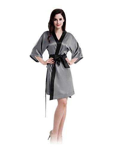Camisón de Seda mujer Plisado Escote Con la Pretina Gris