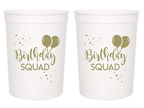 (Birthday Squad Party Cups, Set of 12, 16oz White and Gold Birthday Stadium Cups, Perfect for Birthday Parties, Birthday Decorations, All Birthday Events! )
