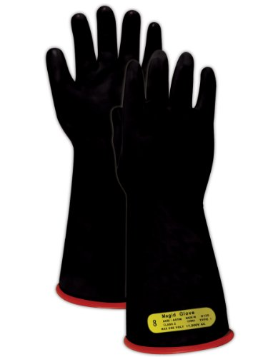 """Magid M2 A.R.C. Natural Latex Rubber Class 2 Insulating Glove with Straight Cuff, Work, 14"""" Length, Size 11, Black/Red"""