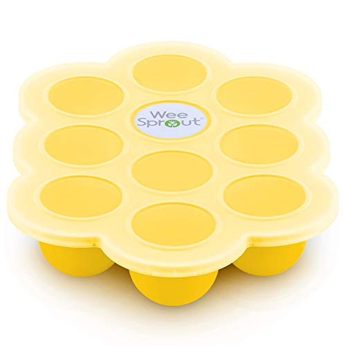 - Silicone Baby Food Freezer Tray with Clip-on Lid by WeeSprout - Perfect Storage Container for Homemade Baby Food, Vegetable & Fruit Purees and Breast Milk - BPA Free & FDA Approved