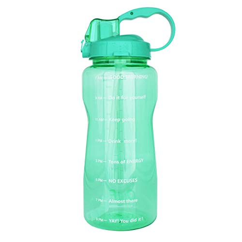 Motivational Gallon Water Bottle 64OZ/128OZ with Unique Timeline/Measurements/Goal Marked Times for Measuring Your Daily Water Intake, Large BPA Free Non-Toxic Water Jug (64OZ, 64OZ-agate green)