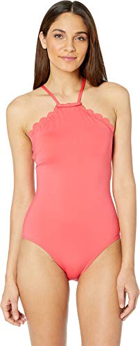 Kate Spade New York Women's Core Solids #79 Scalloped High Neck One-Piece w/Removable Soft Cups Peach Sherbet Large ()