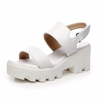 LvYuan-GGX Damen High High High Heels Komfort PU Sommer Normal Komfort Flacher Absatz Weiß Schwarz Flach, schwarz, us6 / eu36 / uk4 / cn36  - ffa5e8