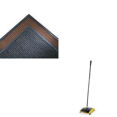 Super Soaker Indoor Wiper (KITCWNSSR310CHRCP421388BLA - Value Kit - Crown Mats SS310CHA Super-Soaker Indoor Wiper/Scraper Mat, 36 x 120, Charcoal (CWNSSR310CH) and Dual Action Sweeper, Boar/Nylon Bristles, 42quot; Steel/Plastic Handle, Black/Yellow (RCP421388BLA))