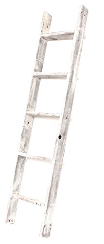 (BarnwoodUSA Rustic Farmhouse Blanket Ladder - Our 5 ft Ladder can be Mounted Horizontally or Vertically and is Crafted from 100% Recycled and Reclaimed Wood | No Assembly Required | White)