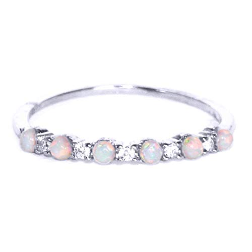 Gieschen Jewelers NIKI II .925 Sterling Silver CZ and Opal Stackable Ring Ring, Size 5