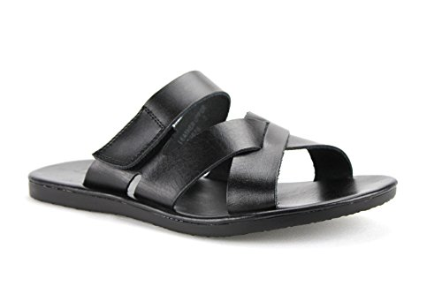 Scandro Heren 52678-zwarte Slip-on Lederen Lederen Sandaal (7 D Ons)