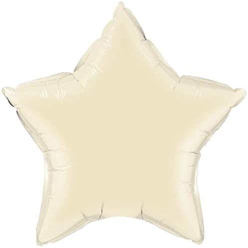 スター(星型) 無地アルミ風船 マイクロフォイルバルーン 4インチ(約10cm)色:パールアイボリー 風船スティック付き(エアー充填済)