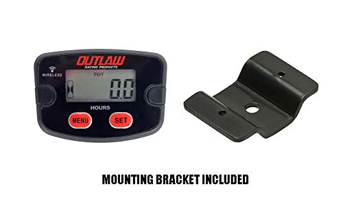 Outlaw Racing Digital Waterproof Wireless Vibration Hour Meter and V2 Bracket Kit Motorcycle Dirt Bike ATV Jet Ski Marine Suitable for Any 2-4 Cylinder- Accurate Readings - 5 Year Warranty ()