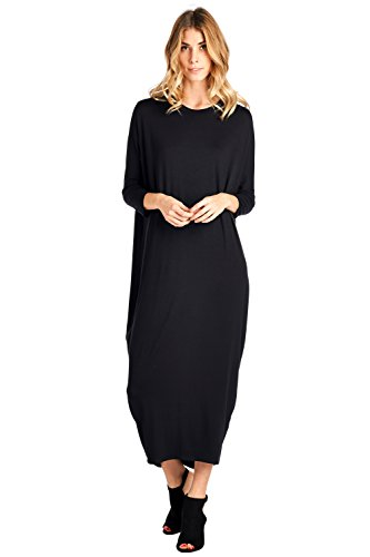 12 Ami Solid Long Sleeve Cover-Up Maxi Dress Black Small ()