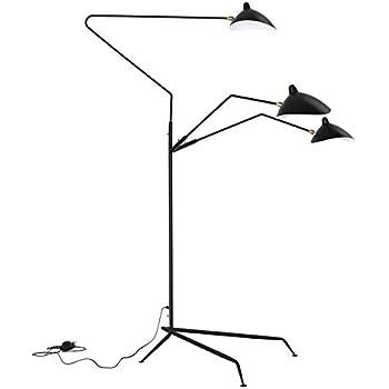 Large Three Arm Floor Lamp Three Rotate Head Black Head
