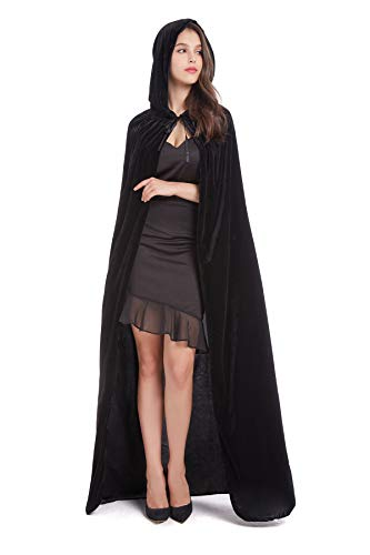 (BEBEP 59inches Unisex Long Velvet Hooded Cloak for Halloween Christmas Masquerade Cosplay Costume (Black))