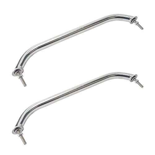 Amarine-made Pair of Polished Stainless Heavy Duty Oval Boat Marine Grab Handle Hand Rail with Flange & Stud - 16