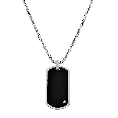Geoffrey Beene Stainless Steel Men's Free Engraving Dog Tag Pendant Box Chain Necklace with Cubic Zirconia Stone (Black)
