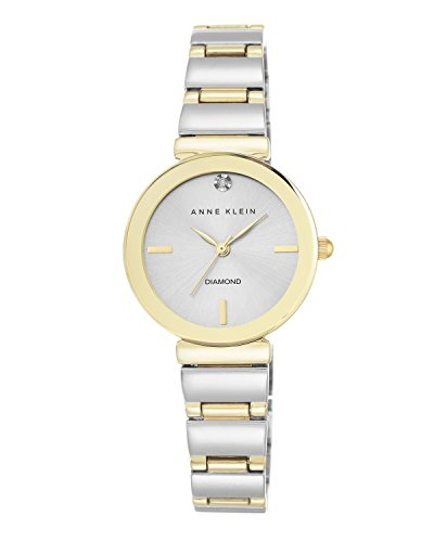 Anne Klein Women's AK/2435SVTT Diamond-Accented Two-Tone Bracelet Watch