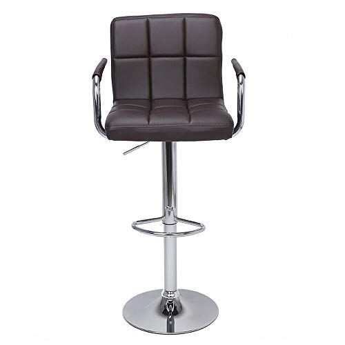 Nual_shop 2 PCS Swivel Leather Chair Adjustable Bar PU Stools Office with Armrest Coffee by Nual_shop (Image #4)