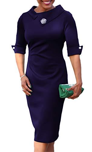noabat Women's Sexy Fitted Tunic Dress Wear to Work Office Career Pencil Dress Navy Medium