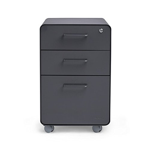Poppin Charcoal Stow Rolling 3-Drawer File Cabinet, Available in 10 Colors, Legal/Letter by Poppin (Image #5)