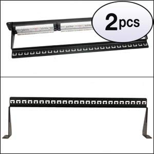 GOWOS (2 Pack) 19 inch 1U Support Bar Black