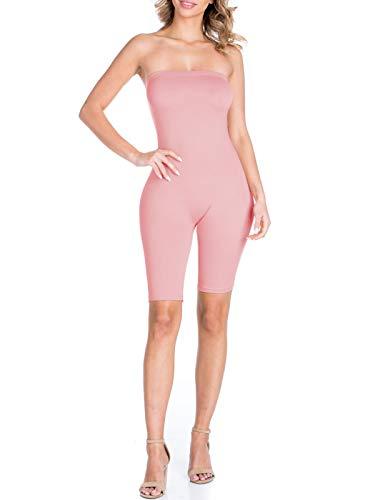 BEYONDFAB Women's Biker Short Pant Tube Jumpsuit One Piece Short Catsuit Mauve S