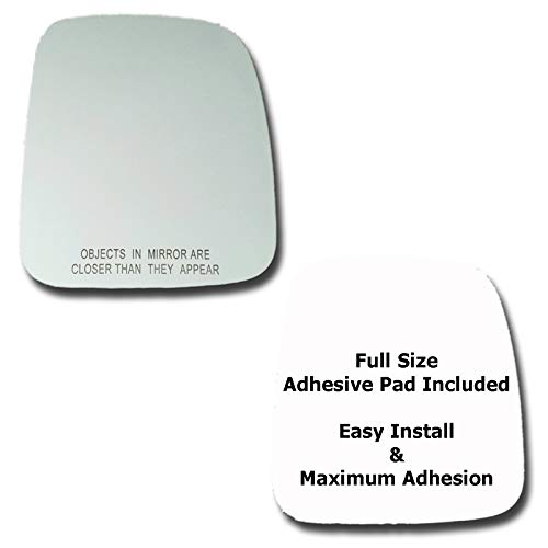 Mirror Glass + Full Size Adhesive Pad for 2003-2006 Jeep Wrangler Passenger Side Replacement