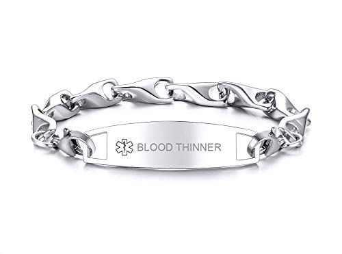 VNOX Free Engraving-12MM Medical Alert ID Special Link Chain Double Lobster Clasp Stainless Steel Bracelet (Blood THINNER)