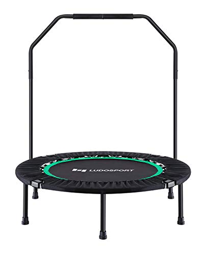 Ludosport Foldable Trampoline Rebounder 40 Inch Fitness Trampoline for Kids Adults Workout Max Load 300 lbs Rebounder Jumping Cardio Trainer with Handle for Yoga, Garden, and Other Cardio Exercise