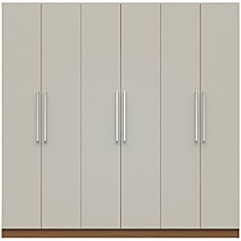 Manhattan Comfort Eldridge 2.0 3 Sectional Armoire Wardrobe Closet With 6  Doors, 4 Drawers,