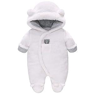 Vine Bébé Combinaison De Neige Manteau à Capuche Hiver FOOTED Combinaisons Fleece Barboteuse Jumpsuit, Blanc 0-3 Mois 2