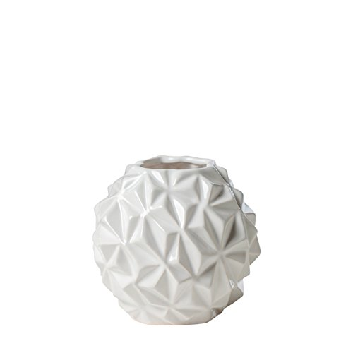 Torre & Tagus 902369A Crumple Ball Vase, Small, White