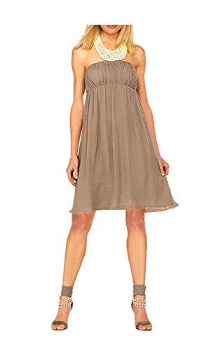 APART Damen-Kleid Chiffon-Abendkleid mit Perlen Grau Größe 42