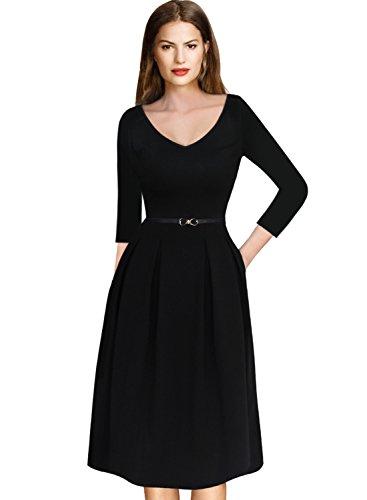 Pleats Vintage Little Black Dress - VfEmage Womens Vintage Summer Polka Dot Wear to Work Casual A-Line Dress 8937 BLK S
