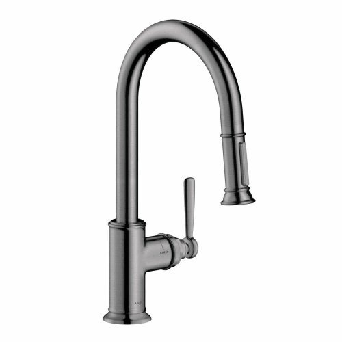 Axor 16581 Montreux Single Handle Pull-Down Spray Kitchen Faucet with Toggle Spr, Steel Optik by AXOR