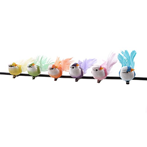 Hi-Unique 6 Pcs Colorful Artificial Birds with Clip for Decoration, Floral Arrangements and Arts and Crafts