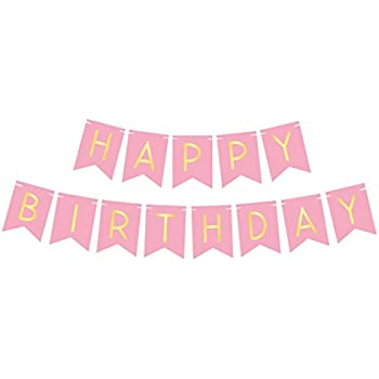 8b1d46310575 amazon com pink happy birthday bunting banner with shimmering gold .