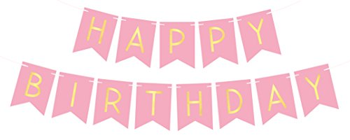 Sterling James Co. Pink Happy Birthday Bunting Banner with Shimmering Gold Letters - Birthday Decorations - 21st - 30th - 40th - 50th Birthday Party Supplies -