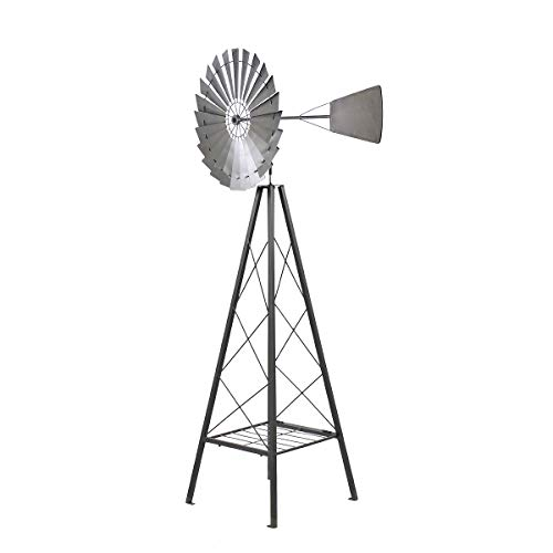 Ornament Windmill Yard Garden Wind Mill Weather Vane Weather Resistant (Silver)