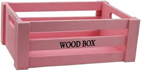 Caja de Madera Vintage Color Rosa -11 x 30 x 20.5 cm: Amazon.es: Hogar