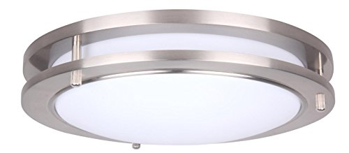 (CORAMDEO 10 Inch LED Flush Mount Ceiling Light Fixture, 14W Replace 100W, 994 Lumen, Dimmable, Satin Nickel Finish, ETL/ES Rated)
