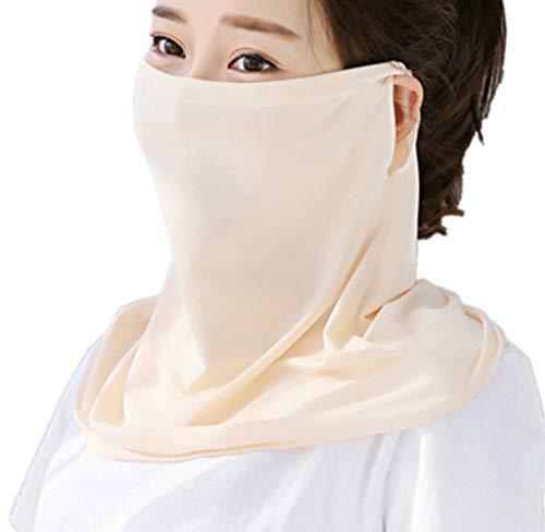 Sun Protection Face Mask Single Layer Neck Gaiter Lightweight Summer Protection Scarf Bandana UPF 50+UV Protective (beige)