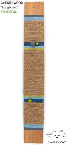 Wall Mounted Cat Scratching Board : Eco Design Cherry wood LongBoard series | various colors | handcrafted cat furniture | gift for cat lovers | gift set available ()
