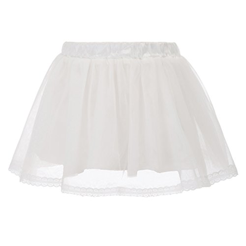 GRACE KARIN Girls Voile Layered Tutu Ruffle Skirt for Dance White 6~7Y CL798-2 by GRACE KARIN