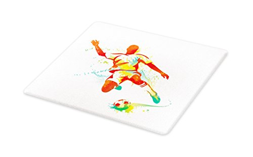 Lunarable Sports Cutting Board, Soccer Player Kicks the Ball Competitions Paint Splashes Speed Boots Art, Decorative Tempered Glass Cutting and Serving Board, Large Size, Orange Yellow Green by Lunarable