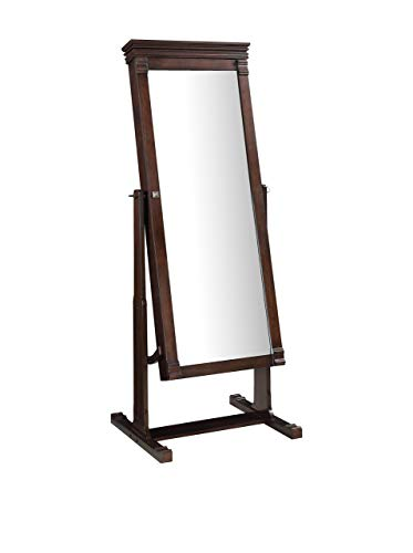 Linon Angela Cheval Mirror, Walnut