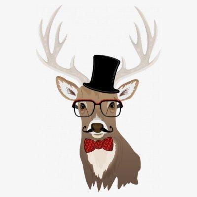 Sudadera con capucha de mujer Mustache Deer Stag by Shirtcity Blanco