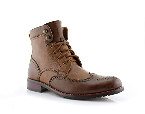 - Polar Fox Jonah MPX808567 Mens Casual Perforated High-Top Red Brogue Wingtip Dress Boots - Brown, Size 9
