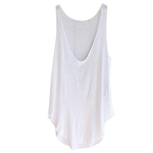 Pinkyee mujer moda verano Lady sin mangas cuello en V Chaleco caramelo sueltas Tank Tops camiseta blanco