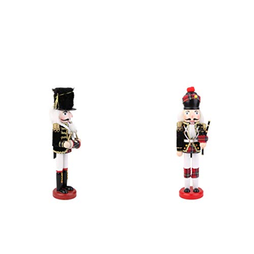 (Prettyia 2pcs Hand Painted Wooden Nutcracker Toy Soldier Christmas Home)